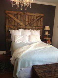 Barn door headboard. Inspired by Pinterest, built by boyfriend. Rentovations.weebly.com