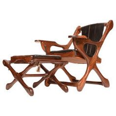 """Don Shoemaker Rosewood Sling """"Swinger"""" Chair and Ottoman"""