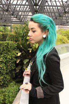 """gauges, teal hair. Gorgeous! I love her hair! I was trick or treating the other day and this dude had awesome gauges and i told him """" i like your gauges my dad would never let me get them"""" he said """" you can do what ever you want when you are older"""""""
