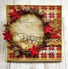 Blankina creations: Marianne Design sketch challenge Christmas Border, Distress Oxide Ink, Marianne Design, Christmas Cards To Make, Lace Border, Poinsettia, Grapevine Wreath, Grape Vines, Challenges