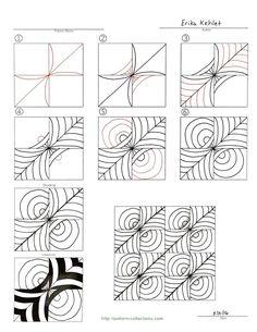Zentangle pattern More tangle pattern Zentangle Drawings, Doodles Zentangles, Doodle Drawings, Doodle Art, Zen Doodle, Doodle Designs, Doodle Patterns, Zentangle Patterns, Art Designs