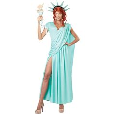Lady Liberty Adult Costume ($52) ❤ liked on Polyvore featuring costumes, halloween costumes, adult halloween costumes, adult costume, statue of liberty adult costume, blue costumes and statue of liberty halloween costume