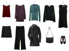 """The Minimalist Wardrobe (aka The 10-Item Wardrobe)    """"What I've done is selected my core, or capsule wardrobe: ten items that can get me through the majority of my daily activities, in every season."""""""