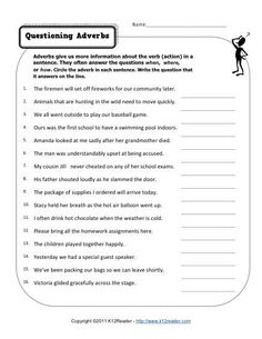 Questioning Adverbs | Free, Printable Adverb Worksheets