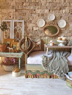 One of a kind hand made daybed by Maritza with foods by Cynthia Lauren Sperin @ www.MaritzaMiniatures.com