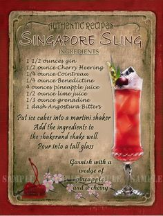 Singapore Sling Cocktail Heavy Aluminium Metal Sign Rounded Corners Punched Holes Ready To Hang Made In The Uk Free Standard UK Postage On Orders Over Drink Bar, Liquor Drinks, Beverages, Cocktail Shots, Cocktail Recipes, Cocktail Book, Singapore Sling Cocktail, Alcholic Drinks, Alcohol Drink Recipes