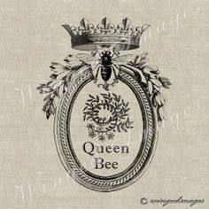 Queen Bee. Instant Download Digital Image No.236 Iron-On Transfer to Fabric (burlap, linen) Paper Prints (cards, tags)
