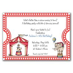 Circus Ticket Invitations for Kids Birthday Party by milelj, $20.25