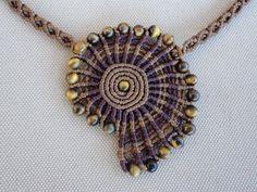 Tiger Spiral - macrame necklace / choker with tiger eye beads Collar Macrame, Macrame Colar, Macrame Earrings, Macrame Bag, Macrame Knots, Macrame Jewelry, Macrame Bracelets, Bead Earrings, Handmade Beaded Jewelry