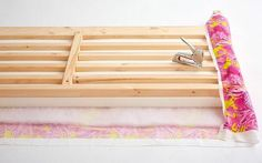 Diy headboard easy use ikea TARVA pine bed with slatted headboard. Paint + nail foam and grey cloth