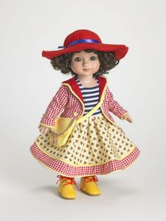 ©Mary Engelbreit Charming Frock 2007 Robert Tonner OUTFIT ONLY T7-AEOF-02 LE400 Originally Sold For $59.99 Print jacket over colorful cotton dress with attached petticoat; includes bag, stockings, shoes and hat.