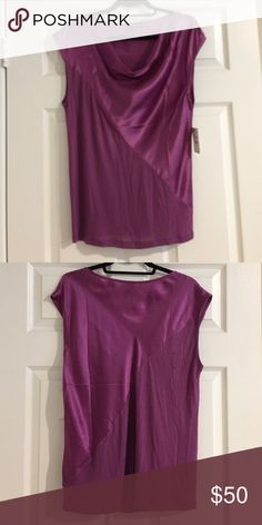 Trouve Blouse from Nordstrom Silk. Cowl neckline. Short sleeve. Color: Berry-Amethyst. Never worn. Looks brand new. Nordstrom Tops Blouses