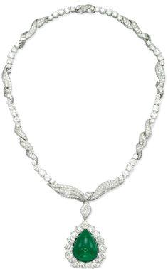 Emerald and Diamond Necklace Emerald Necklace, Turquoise Necklace, Pendant Necklace, Pearl Jewelry, Jewelery, Fine Jewelry, My Birthstone, Emeralds, Diamond Cuts