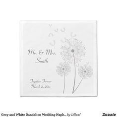 Grey and White Dandelion Wedding Napkins