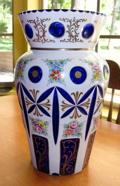 "BOHEMIAN CZECH Cased Glass Moser VASE White Cut to Cobalt Large 14"" with Floral…"