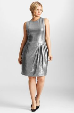 Plus Size Sequin Stretch Asymmetrical Drape Dress
