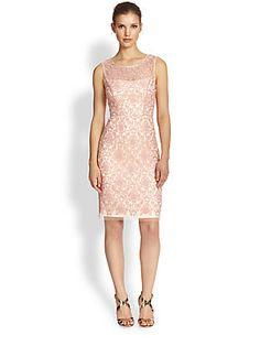 Kay Unger Sleeveless Lace Sheath Dress