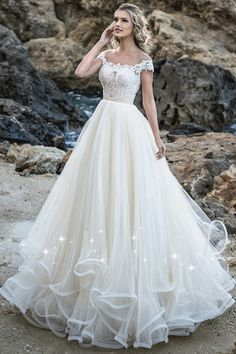 Glamorous Tulle Jewel Neckline A-line Wedding Dress With Beaded Lace Appliques & Ruffles