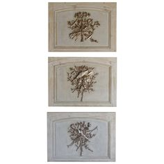 Set of Three French Carved Painted and Silver Gilt Panels Cream Paint, Kitchen Cabinet Doors, Wall Decorations, Venetian, Diy Furniture, Art Decor, Decorative Boxes, Gallery Wall, Carving