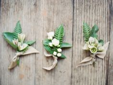 fern boutonnieres via oncewed.com
