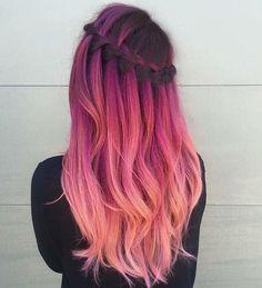 Pulp riot - mermaid bright hair colour & curls / pink sunset hair