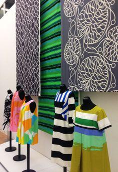 Exhibition Marimekko | Kunsthal | Rotterdam | The Netherlands Textile Patterns, Textiles, Textile Design, Color Patterns, Fabric Design, Print Patterns, 1960s Fashion, Girl Fashion, Vintage Fashion