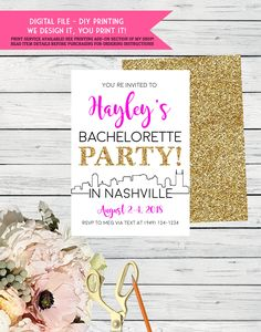 Nashville Bachelorette Party Invite Gold Glitter- Itinerary Available- Change Colors *Digital File*** DIY PRINT (Bach-nashville) by EmmaSueBowtique on Etsy Bachelorette Tanks, Bachelorette Party Invitations, Wedding Party Shirts, Wedding Goals, Printing Services, Gold Glitter, Nashville, Color Change, Invite