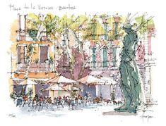 Plaça de la Virreina LIMITED EDITION PRINT / por drawingBarcelona