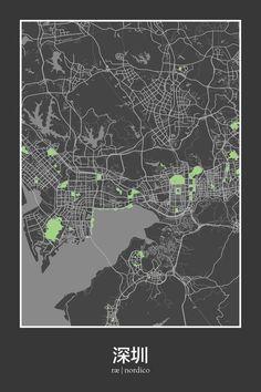 Shenzhen, China Map Print: