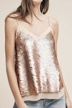 Rose Gold Sequined Cami by Anthropologie
