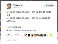 I love Spanish…  I can't tell you how many times I correct this in a year.  And I have parents tell me their kid fails because they don't know where to put the  accents.  Please.  Someone made a tshirt when the Pope visited Miami.  It said Vi la Papa.  Instead of I saw the Pope, it read I saw the Potato. Beating my head against the wall.