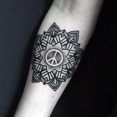 6fa8e76e0 Floral Dotwork Peace Sign Male Inner Forearm Tattoos Friedenszeichen Tattoos,  Left Arm Tattoos, Small