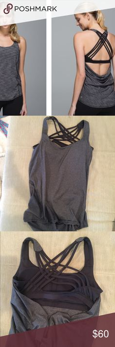 Lululemon Free To Be Wild Tank Lululemon black and gray free to be wild tank. Gently used, super soft and comfortable. No stains or pilling. Accepting any offers! lululemon athletica Tops Tank Tops