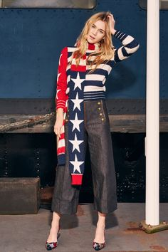 Red, White and Blue, Stars and Stripes Sweater Paired with a Matching Scarf - Tommy Hilfiger Pre-Fall 2016 Fashion Show