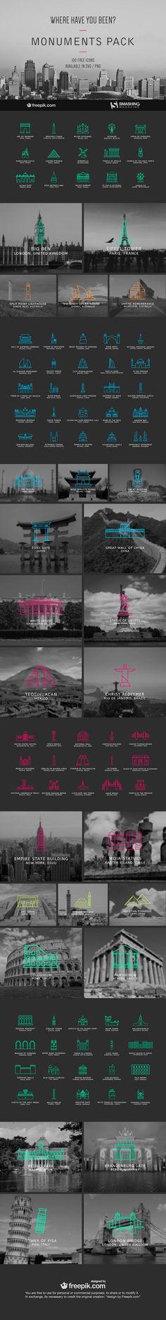 100个免费的世界著名古迹建筑矢量描边图标源文件下载