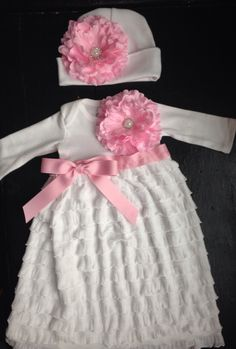 A personal favorite from my Etsy shop https://www.etsy.com/listing/242263137/white-ruffle-coming-home-outfit-take