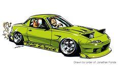 "CRAZY CAR ART ""MIATA"" Drawn by order of Jonathan Fonda Thank you so much! original cartoon ""mame mame rock"" / © ozizo + Official web shop ""STAY CRAZY (in Society6)"" https://society6.com/mame_ozizo + Official web shop ""ozizo(in..."