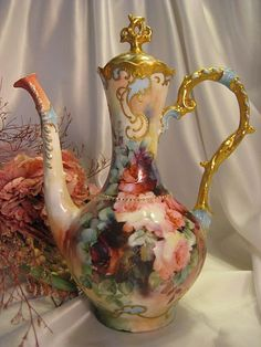 """RARE """"Finest Chocolate Pot Mold"""" MASTERPIECE ~ Breathtaking Antique Hand Painted Chocolate Coffee Tea Pot ~ Gorgeous Roses ~ Outstanding Gold Work ~ Exceptional Victorian Period Heirloom, Circa 1890"""