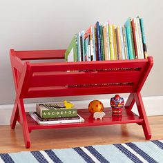 The Land of Nod | Kids Book Bins: Raspberry Red Book Caddy Bin in New Furniture