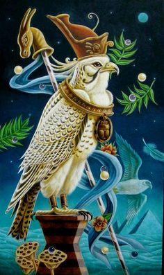Horus by Mitsura Nagashima. Oil over egg tempera on board. Egyptian Mythology, Egyptian Symbols, Ancient Egyptian Art, Egyptian Goddess, Ancient History, Surreal Artwork, Pagan Art, Visionary Art, Fantastic Art