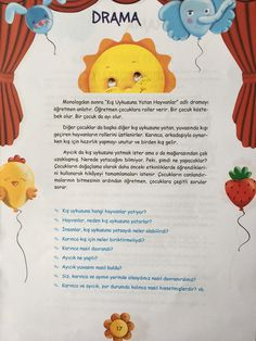 Drama Activities, Toddler Activities, Turkish Lessons, Drama Education, Learn Turkish, Worksheets For Kids, Pre School, Slogan, Preschool Activities