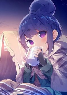 cup fingerless_gloves from_side gloves hair_bun head_tilt highres holding looking_at_viewer mug outdoors pink_eyes shawl shima_rin sitting solo tent yurucamp Moe Anime, Kawaii Anime Girl, Anime Manga, Anime Art, Anime Girls, Animé Fan Art, Animes Wallpapers, Kawaii Cute, Illustrations