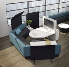 Downtown collaborative furniture offers meeting tables and lounge seating for comfortable and efficient work environments. Library Furniture, Office Furniture Design, Furniture Layout, Office Interior Design, Office Interiors, Modern Furniture, Furniture Ideas, Innovative Office, Office Furniture Manufacturers