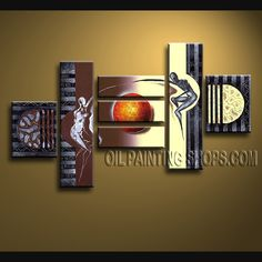 Astonishing Modern Abstract Painting Artist Oil Painting Stretched Ready To Hang Figure. This 7 panels canvas wall art is hand painted by Flora.Z, instock - $165. To see more, visit OilPaintingShops.com