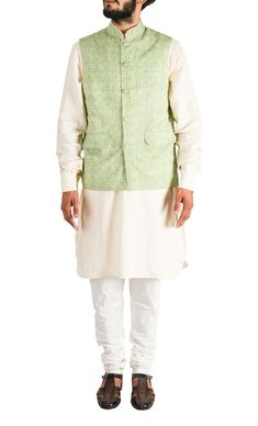 Wedding fashion for men - look great in this this Cream Kurta Set with Green Nehru Jacket by Arjan Dugal. Available at a special online discounted price. Shop now! Nehru Jacket For Men, Nehru Jackets, Wedding Store, Men Looks, Looks Great, Ethnic, Shop Now, Menswear, Mens Fashion
