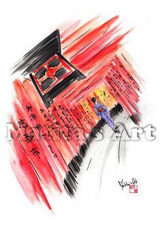 """Contemplation"" by Matita's Art - Illustration of Martina Gallo - Japanese illustration"