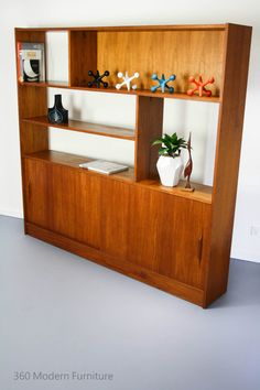 Mid Century Room Divider Wall Unit Bookcase Teak Shelves Retro Vintage  Macrob In Home U0026 Garden, Furniture, Other