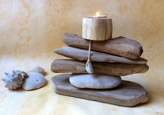 Deco Zen, Driftwood Crafts, Land Art, Pebble Art, Spas, Woods, Creations, Diy Crafts, Candles