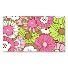 Pretty Pink Green Flowers Spring Floral Pattern Business Card