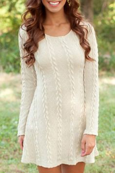 Graceful Scoop Neck Long Sleeve Pure Color Knitted A-Line Dress For Women